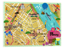 Foam board print  Colorful city map Mainz - Elisandra Sevenstar