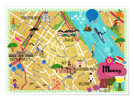 Premium poster Colorful city map Mainz