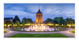 Premium poster  Mannheim water tower and rose garden at night - Jan Christopher Becke