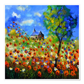 Poster Poppy field with church