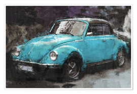 Premium poster  Little blue vintage car - LoRo-Art