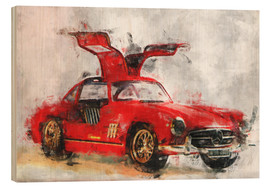 Wood print  Oldtimer - red - LoRo-Art