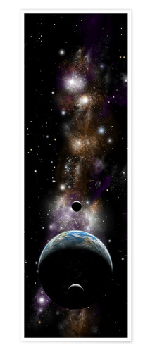 Premium poster Earth-like planet with moons