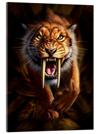 Acrylic print  Full on view of a Saber-toothed Tiger - Jerry LoFaro