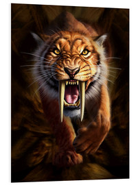 Foam board print  Full on view of a Saber-toothed Tiger - Jerry LoFaro