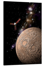 Aluminium print  A probe investigating a heavily cratered moon in deep space. - Marc Ward