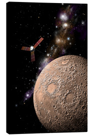 Canvas  A probe investigating a heavily cratered moon in deep space. - Marc Ward