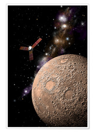 Premium poster A probe investigating a heavily cratered moon in deep space.