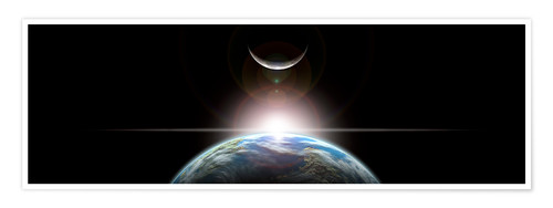 Premium poster A star rising over an Earth-like planet and illuminating it's lone moon.