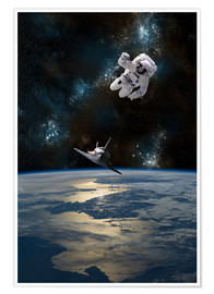 Premium poster  At astronaut drifting in space - Marc Ward