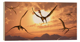 Wood print  A flock of giant Quetzalcoatlus - Mark Stevenson
