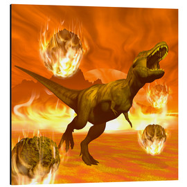 Aluminium print  Tyrannosaurus Rex struggles to escape from a meteorite crash. - Elena Duvernay