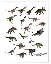 Premium poster  Overview dinosaurs - Elena Duvernay