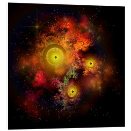 Foam board print  A collection of colorful nebulae, gases, dust, stars and interstellar matter. - Corey Ford