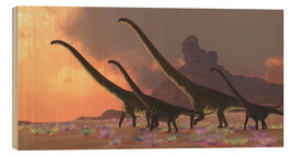 Wood print  A family of Mamenchisaurus dinosaurs. - Corey Ford