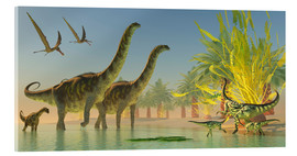 Acrylic print  Deinocheirus dinosaurs watch a group of Argentinosaurus walk through shallow waters. - Corey Ford