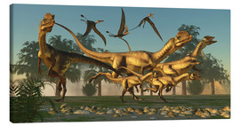 Canvas print  A pack of Dilophosaurus dinosaurs hunting for prey. - Corey Ford