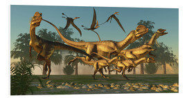 Foam board print  A pack of Dilophosaurus dinosaurs hunting for prey. - Corey Ford