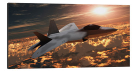 Aluminium print  An F-22 fighter jet flies at an altitude above the cloud layer on its mission. - Corey Ford