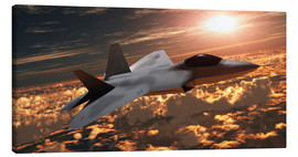 Canvas print  An F-22 fighter jet flies at an altitude above the cloud layer on its mission. - Corey Ford
