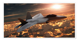 Premium poster  An F-22 fighter jet flies at an altitude above the cloud layer on its mission. - Corey Ford