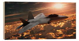 Wood print  An F-22 fighter jet flies at an altitude above the cloud layer on its mission. - Corey Ford
