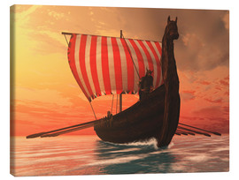 Canvas print  A Viking longboat sails to new shores - Corey Ford