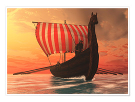 Premium poster A Viking longboat sails to new shores