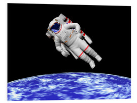 Foam board print  Astronaut floating in outer space above planet Earth - Elena Duvernay