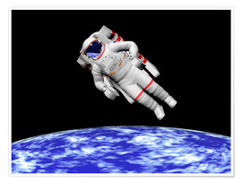 Premium poster Astronaut floating in outer space above planet Earth