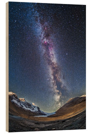 Wood print  Milky Way over the Columbia Icefields in Jasper National Park, Canada. - Alan Dyer