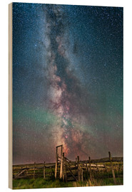 Wood print  Milky Way over an old ranch corral. - Alan Dyer