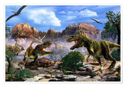 Two T Rex Dinosaurs Fighting Over A Dead Carcass Posters