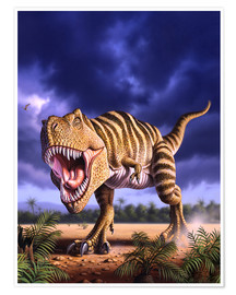 Premium poster  A Tyrannosaurus Rex attacks, lit by the late afternoon sun. - Jerry LoFaro