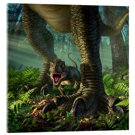 Acrylic print  A baby Tyrannosaurus Rex roars while safely standing between it's mother's legs. - Jerry LoFaro