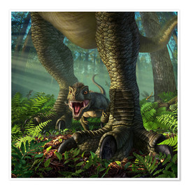 Premium poster  A baby Tyrannosaurus Rex roars while safely standing between it's mother's legs. - Jerry LoFaro