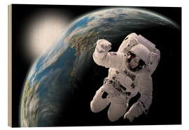 Wood print  Astronaut in space - Marc Ward