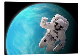 Aluminium print  Artist's concept of an astronaut floating in outer space by a water covered planet. - Marc Ward