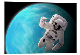 Forex  Artist's concept of an astronaut floating in outer space by a water covered planet. - Marc Ward