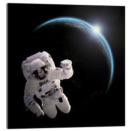 Acrylic print  Astronaut floating in space as the sun rises on to Earth-like planet. - Marc Ward