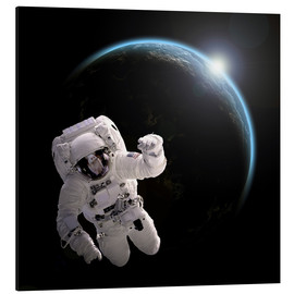 Alu-Dibond  Astronaut floating in space as the sun rises on to Earth-like planet. - Marc Ward