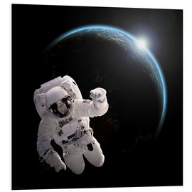 Foam board print  Astronaut floating in space as the sun rises on to Earth-like planet. - Marc Ward