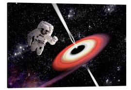 Aluminium print  Artist's concept of an astronaut falling towards a black hole in outer space. - Marc Ward