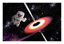 Premium poster Artist's concept of an astronaut falling towards a black hole in outer space.