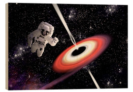 Wood print  Artist's concept of an astronaut falling towards a black hole in outer space. - Marc Ward
