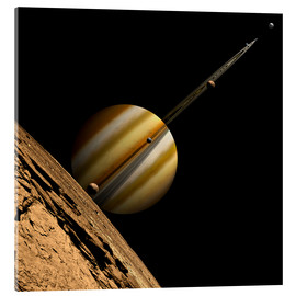 Acrylic print  An artist's depiction of a ringed gas giant planet with six moons. - Marc Ward