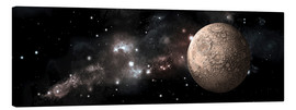 Canvas print  A heavily cratered moon alone in deep space. - Marc Ward