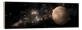 Wood print  A heavily cratered moon alone in deep space. - Marc Ward