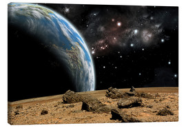 Canvas print  An Earth-like planet rises over a rocky and barren alien world. - Marc Ward