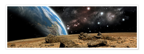 Premium poster An Earth-like planet rises over a rocky and barren alien world.